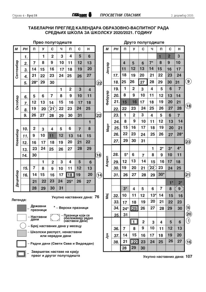Измењен календар рада 20/21.